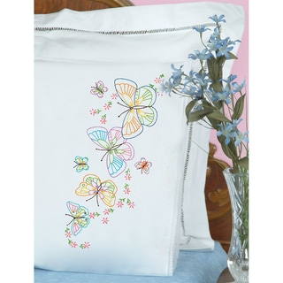 White Lace Stamped Pillowcases (Pack of 2)