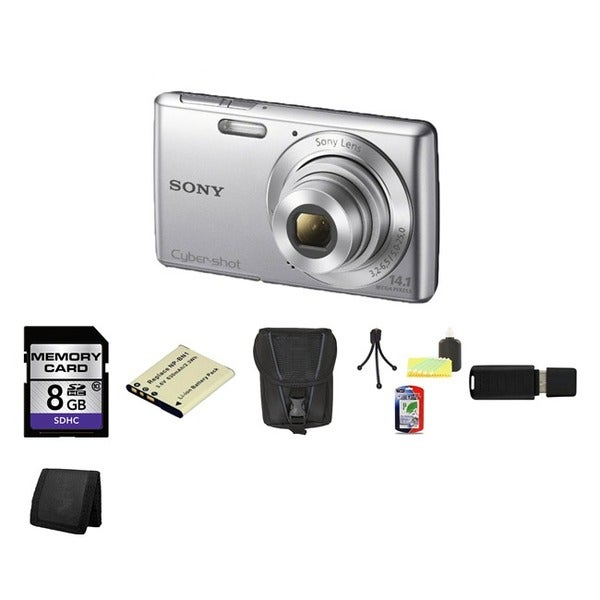 Sony Cyber-Shot DSC-W620 14.1MP Silver Digital Camera 8GB Bundle