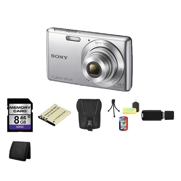 Sony Cyber-Shot DSC-W620 14.1MP Silver Digital Camera 8GB Bundle