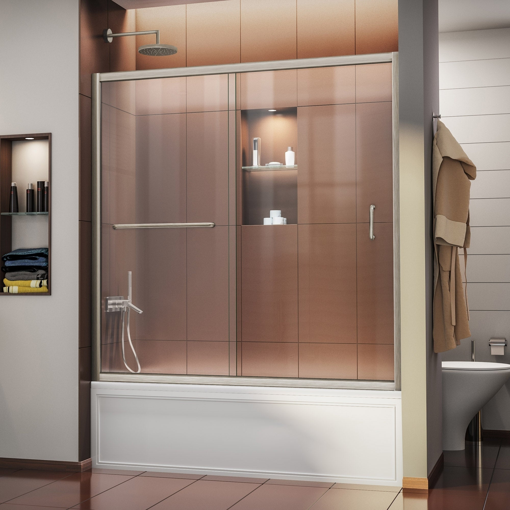 Dreamline Infinity Z 56 60 In W X 58 In H Semi Frameless Sliding Tub Door 56 60 W