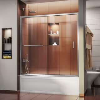 "DreamLine Infinity-Z 56-60 in. W x 58 in. H Semi-Frameless Sliding Tub Door - 56"" - 60"" W"