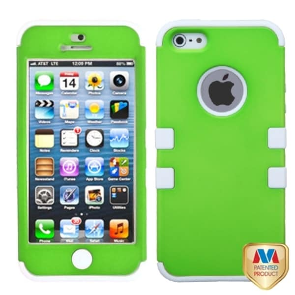 BasAcc Green/ White Rubberized TUFF Hybrid Case for Apple iPhone 5