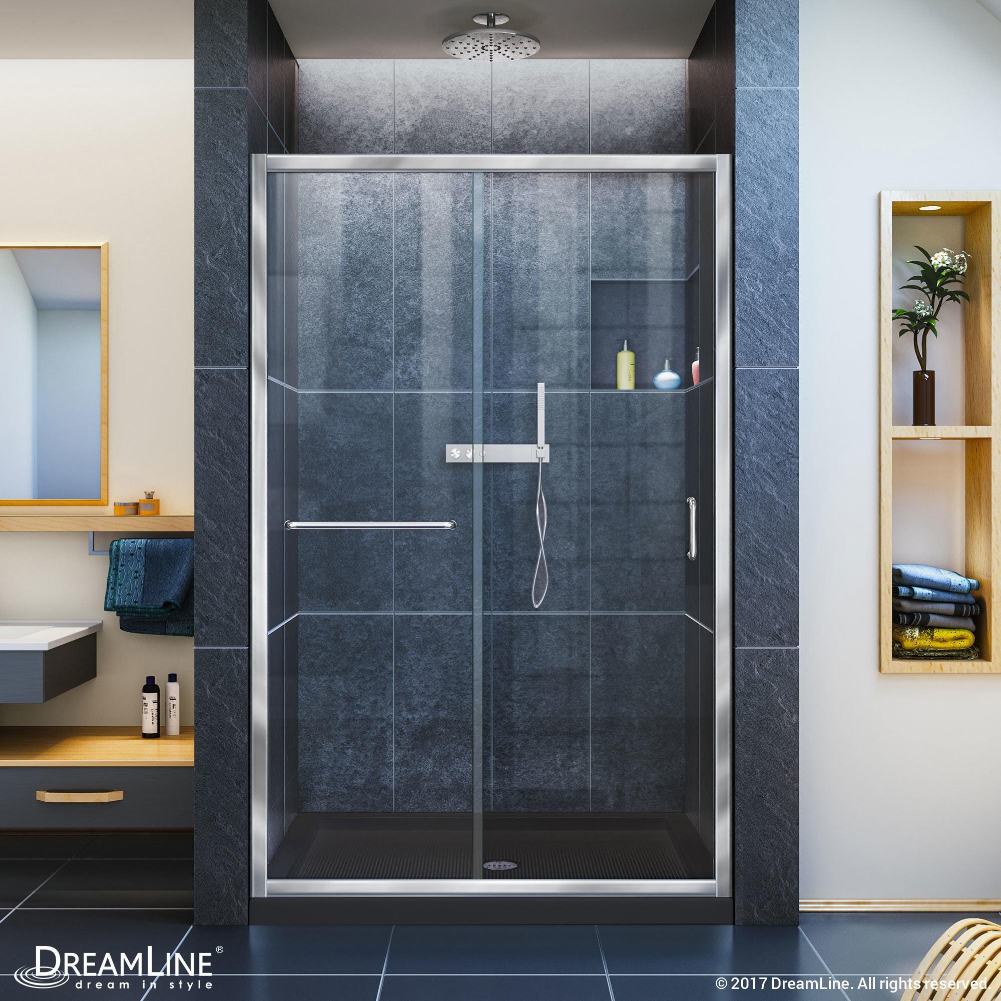 Dreamline Infinity Z 44 48 In W X 72 In H Semi Frameless Sliding Shower Door 44 48 W