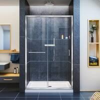 DreamLine Infinity-Z 44-48 in. W x 72 in. H Semi-Frameless Sliding Shower Door, Clear Glass - Center Drain Base