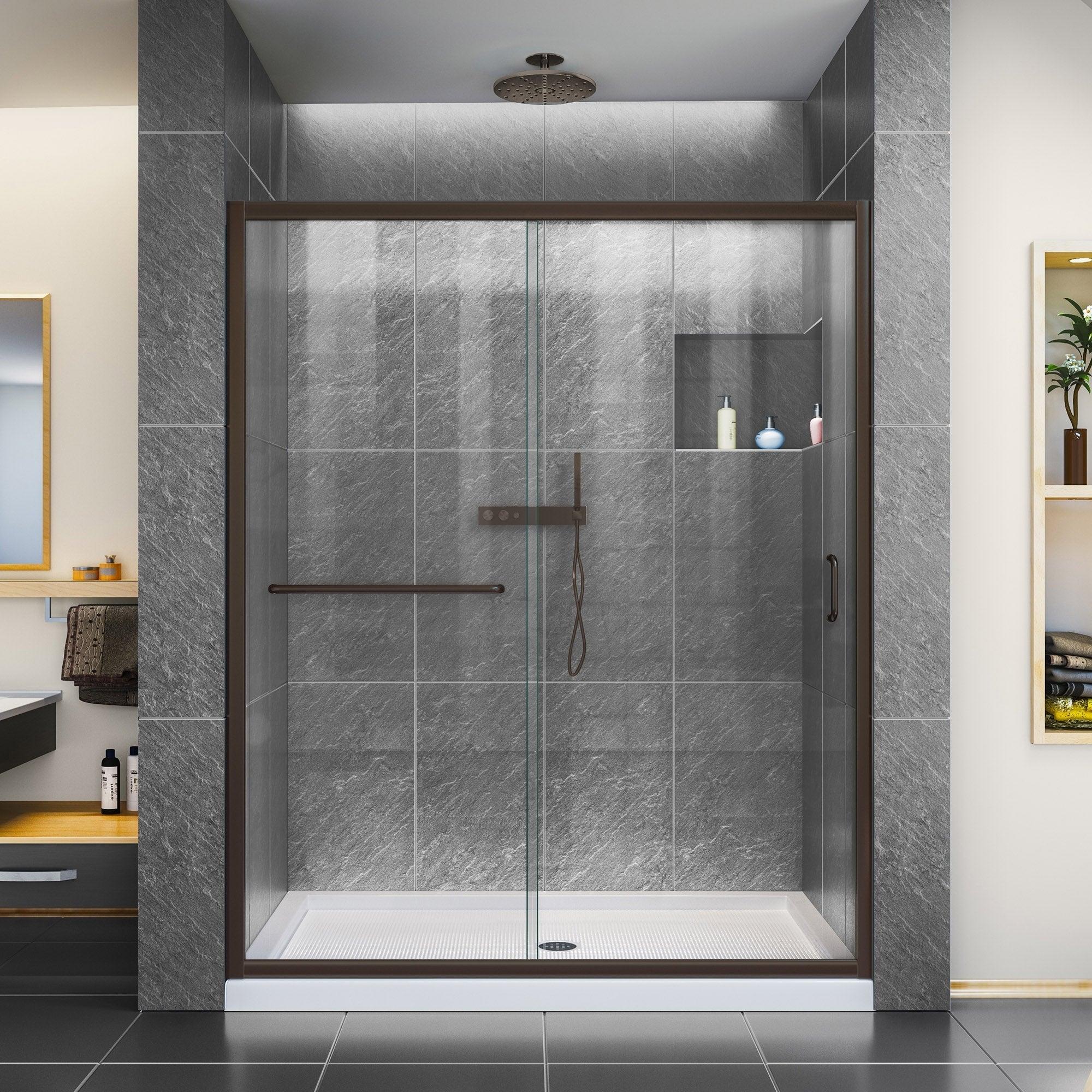 Dreamline Infinity Z 56 60 In W X 72 In H Semi Frameless Sliding Shower Door Clear Glass 60 W