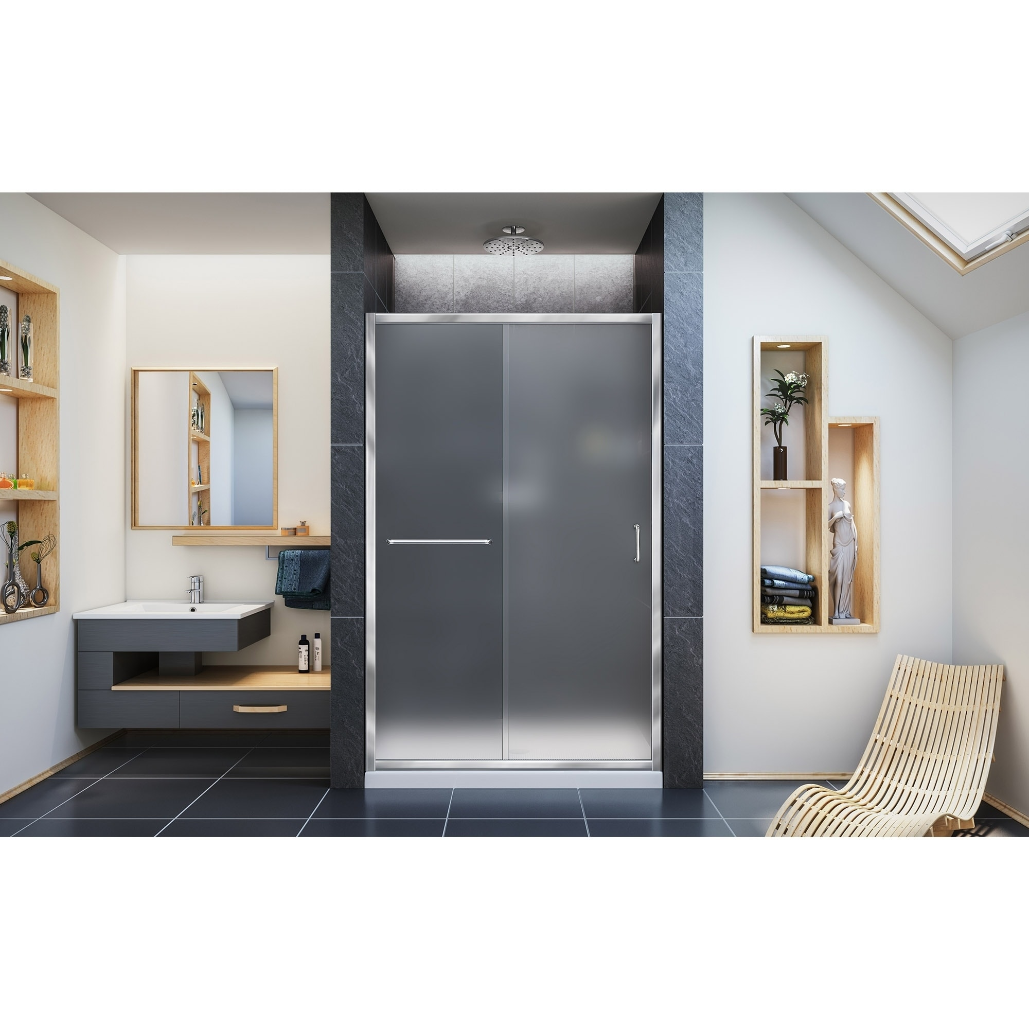 Details About Dreamline Infinity Z 44 48 In W X 72 In H Semi Frameless Sliding Shower Door