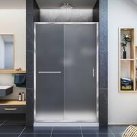 DreamLine Infinity-Z 44-48 in. W x 72 in. H Semi-Frameless Sliding Shower Door, Frosted Glass