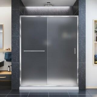 DreamLine Infinity-Z 56-60 in. W x 72 in. H Semi-Frameless Sliding Shower Door, Frosted Glass