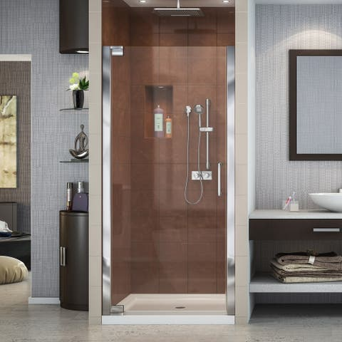 "DreamLine Elegance 25 1/4 - 27 1/4 in. W x 72 in. H Frameless Pivot Shower Door - 25.25"" - 27.25"" W"