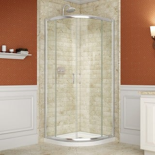 "DreamLine Prime 34-3/8"" x 34-3/8"" Frameless Tempered-Glass ANSI-Certified Sliding Shower Enclosure"