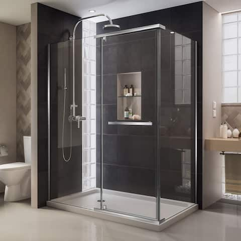 "DreamLine Quatra 34 5/16 in. D x 46 5/8 in. W x 72 in. H Frameless Pivot Shower Enclosure - 34.31"" x 46.63"""