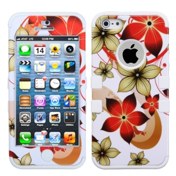 BasAcc Hibiscus Flower Romance/ White Hybrid Case for Apple iPhone 5