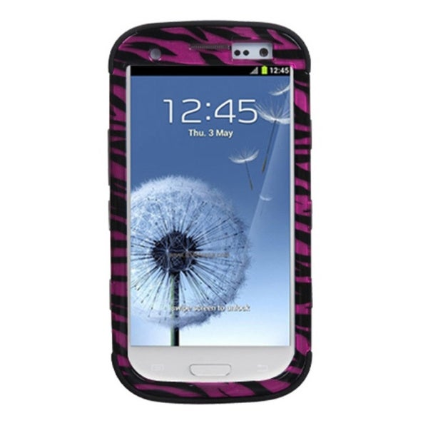 INSTEN Zebra Skin Hot Pink/ Black Phone Case Cover for Samsung Galaxy S3 III i9300