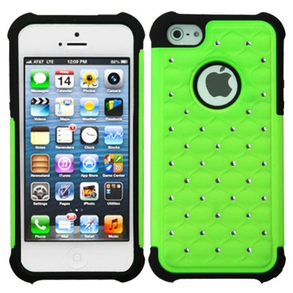 INSTEN Pearl Green/ Black TotalDefense Phone Case Cover for Apple iPhone 5