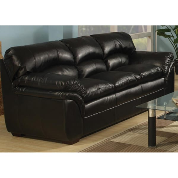 Joyce Black Bonded Leather Sofa - Free Shipping Today - Overstock