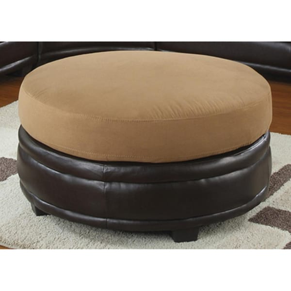 Two-tone Round Leatherette and Fabric Ottoman