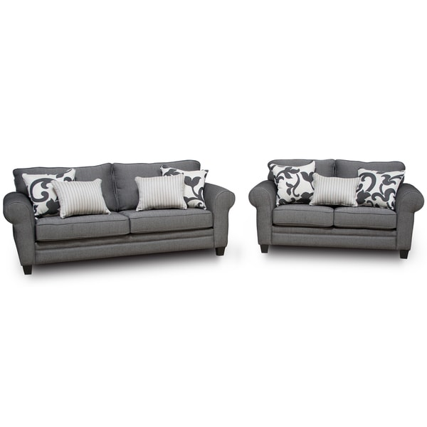 Kim Grey Sofa And Loveseat Set With Throw Pillows