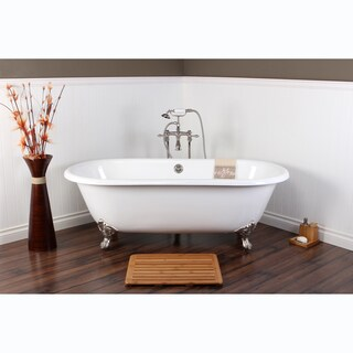 White Cast Iron Double-ended 66-inch Clawfoot Bathtub