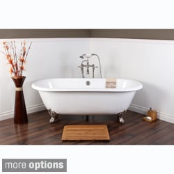 White Cast Iron Double Ended 66 Inch Clawfoot Bathtub