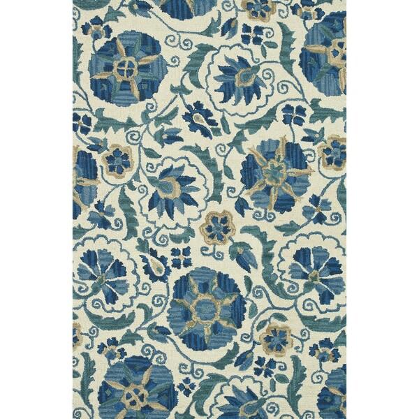 Hand-hooked Tessa Ivory/ Blue Wool Rug (5' x 7'6)