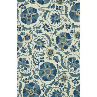 Hand-hooked Tessa Ivory/ Blue Wool Rug (5' x 7'6)