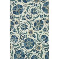 Hand-hooked Tessa Ivory/ Blue Wool Rug - 7'10 x 11'