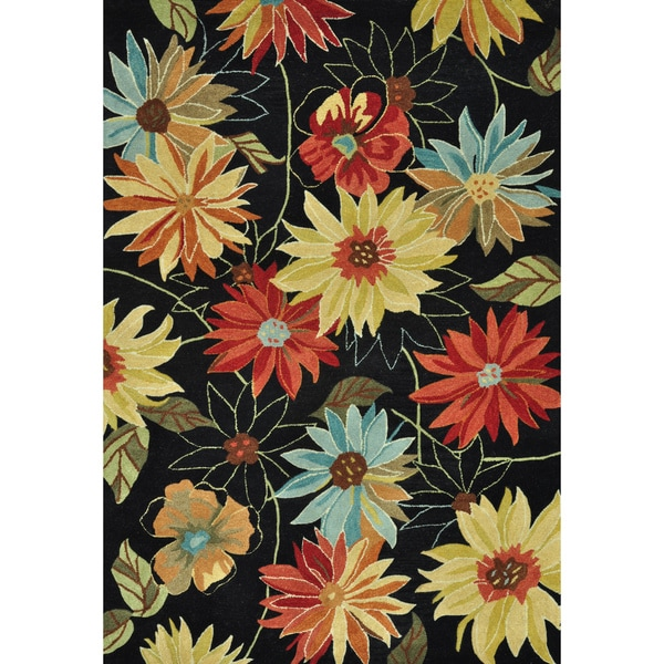 Hand-Tufted Leighton Black Bright Floral Wool Rug (7'6 x 9'6)