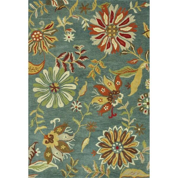 Hand-tufted Leighton Blue Wool Rug (7'6 x 9'6)
