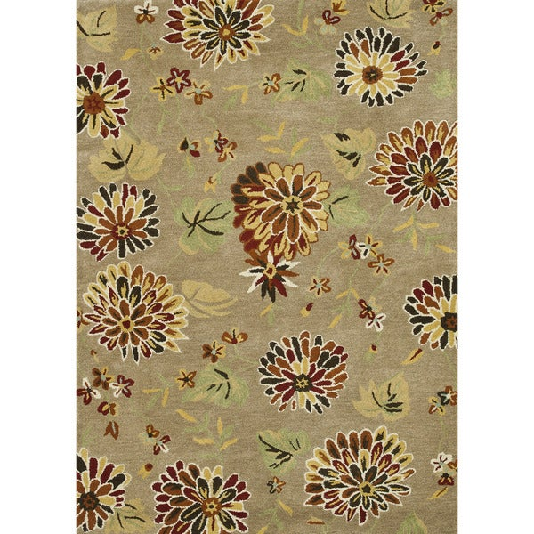 Hand Tufted Leighton Light Brown Wool Rug (5'0 x 7'6)