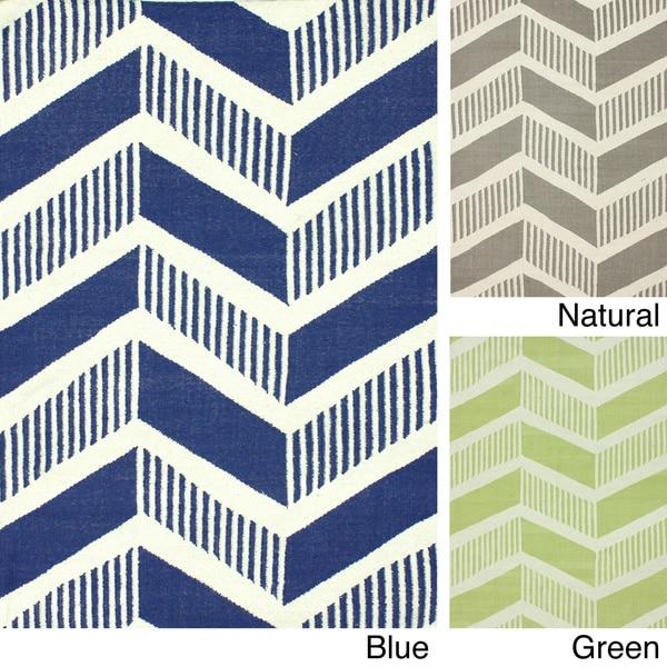 Chevron Denim Wool Rug: Shop NuLOOM Handmade Flatweave Modern Chevron Wool Rug