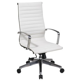 Office Star Products High Back White Eco Leather Chair with Built-In Lumbar Support