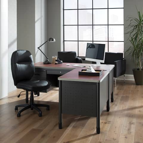 OFM Stimulus Series Leatherette Executive Mid-Back Chair, in Black (521-LX-T)