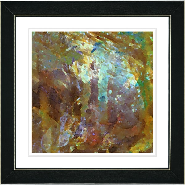 Studio Works Modern 'Rushing Poem - Honey Yellow' Framed Print