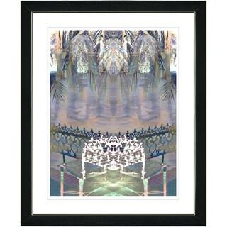 Studio Works Modern 'Palm Leaves Bench - White' Framed Print