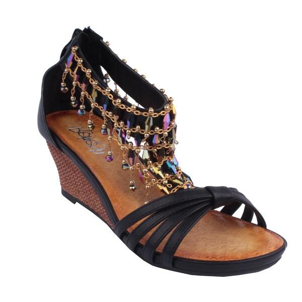 Refresh by Beston Women's 'GINNY-12' Black T-Strap Wedge Sandals