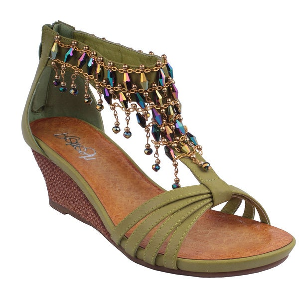 Refresh by Beston Women's 'GINNY-12' Green T-Strap Wedge Sandals