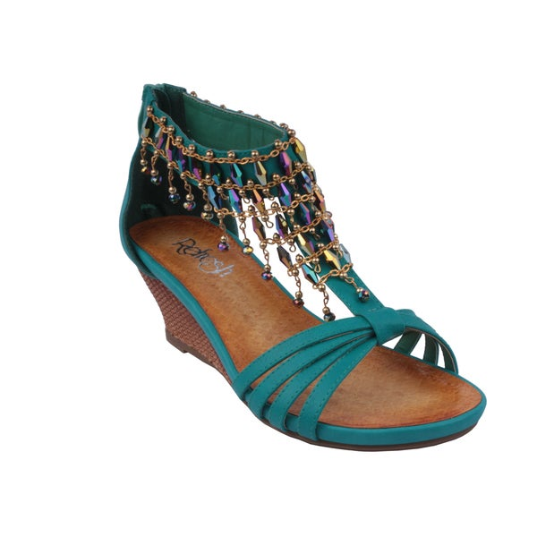 Refresh by Beston Women's 'GINNY-12' Teal T-Strap Wedge Sandals