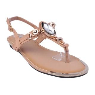 Refresh by Beston Women's Tan 'JETTA-07' Flat Triangle Sandals