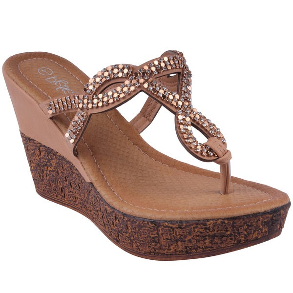 Refresh by Beston Women's 'RANDY-07' Wedge Flip Flop Sandals