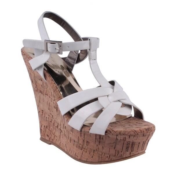 Refresh by Beston Women's 'RENO-01' Platform T-strap Wedge Sandals