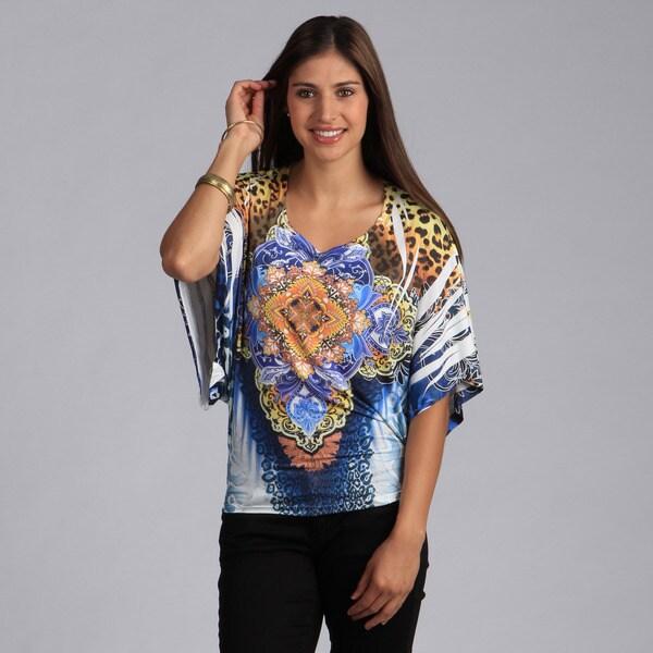 Tabeez Women's Medallion Print Dolman Sleeve Top