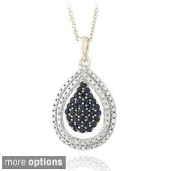Glitzy Rocks Goldtone Gemstone and Diamond Accent Teardrop Necklace