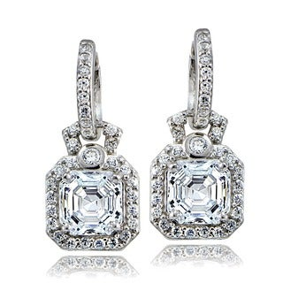 Icz Stonez Sterling Silver Asscher-cut Cubic Zirconia Square Dangle Earrings