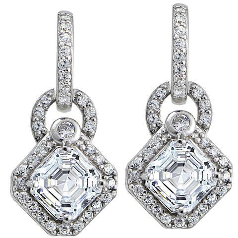 Icz Stonez Sterling Silver Asscher-cut Cubic Zirconia Diamond-shaped Dangle Earrings