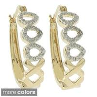 Finesque 18k Gold or Silver Overlay Diamond Accent Hoop Earrings