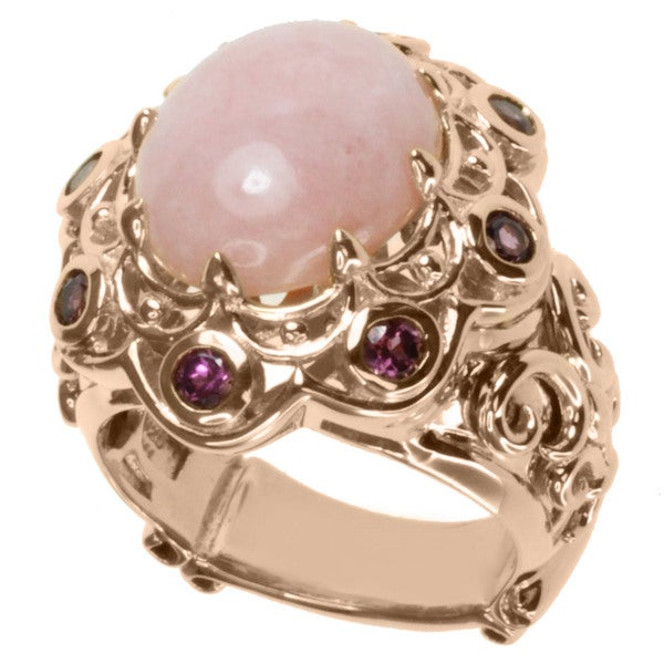 Dallas Prince Rose Gold over Silver Pink Opal and Rhodolite Ring
