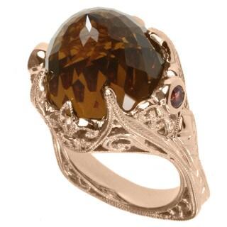 Dallas Prince Rose Gold over Silver Cognac Quartz and Orange Sapphire Ring