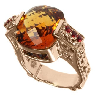 Dallas Prince Rose Gold over Silver Citrine, Garnet and Orange Sapphire Ring