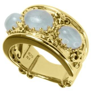 Dallas Prince Gold over Silver Aquamarine Ring