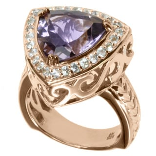 Dallas Prince Rose Gold over Silver Amethyst and White Sapphire Ring